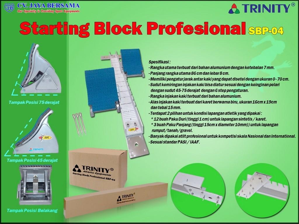 Spesifikasi Starting Block Professional SBP-04 merek Trinity sebagai berikut : - Rangka utama terbuat dari bahan alumInium dengan ketebalan yaitu 7mm. - Panjang rangka utama yaitu 86 cm dan lebar 8 cm.