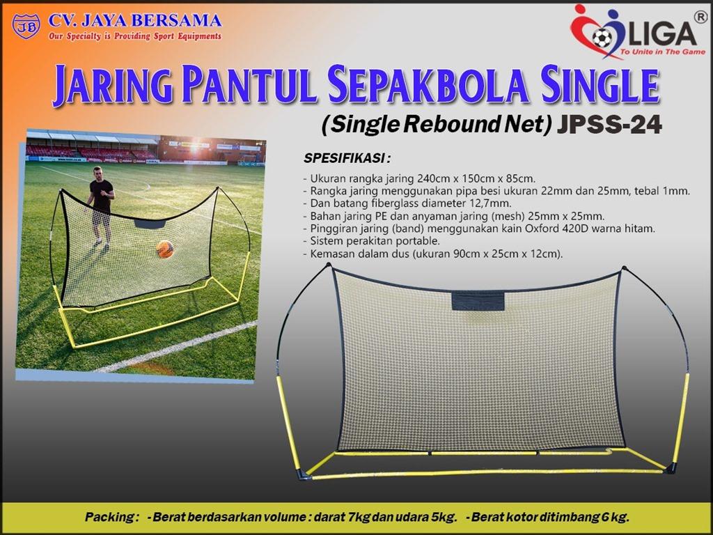 Spesifikasi Jaring Pantul Sepakbola Single JPSS-24 (Single Rebound Net) merek Liga sebagai berikut : - Ukuran rangka jaring yaitu 240cm x 150cm x 85cm. - Rangka jaring menggunakan pipa besi yaitu ukuran 22mm dan 25mm dengan tebal 1mm.